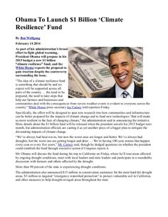 #Obama To Launch $1 Billion 'Climate Resilience' Fund  INFOWARS.COM  BECAUSE THERE'S A WAR ON FOR YOUR MIND