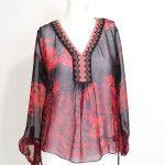 Rode zijden blouse met print - Hale Bob www.stylebiss.be