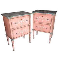 Pair of Painted Bedside Commodes