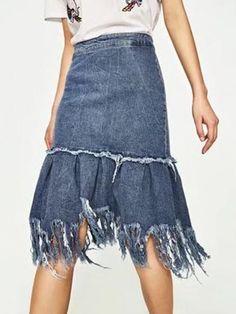 Blue High Waist Fringe Hem Denim Skirt