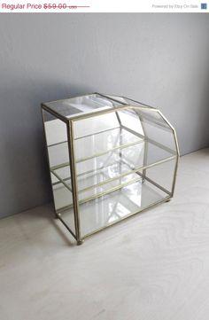 SALE 25% OFF classic glass display case / mirrored jewelry box