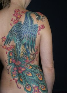 Peacock Tattoo on Back