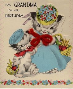 Vintage Birthday Card Grandma Kittens