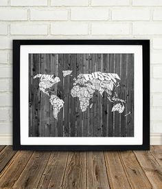 World Word Map on a Wood Fence - White Typographic Map of the Countries of the World.  Print or Canvas.  8x10, 11x14, 16x20, 20x30.