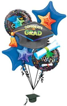 Celebrate the new graduate in style with our Graduating Class of 2014 party decorations and balloons. Our Grad Celebration Graduation Balloon Bouquet makes decorating for your party easy and fun. The Grad Celebrate Graduation Balloon Bouquet can be tied to the guest of honor's chair and goes perfect with our Graduation paper tableware collections to create an amazing graduation event.