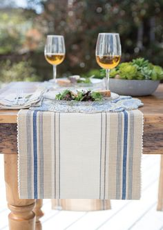 "Layering your tabletop decor can add that ""wow"" effect you've been looking for. Nazima and French Blue Stripes come together to create this simple and trendy tabletop decor. #Decor #Trendy"