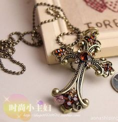 Fashion Charm jewelry Cross Crystal vintage long Pendant Chain Necklace N58 #Unbranded #Chain