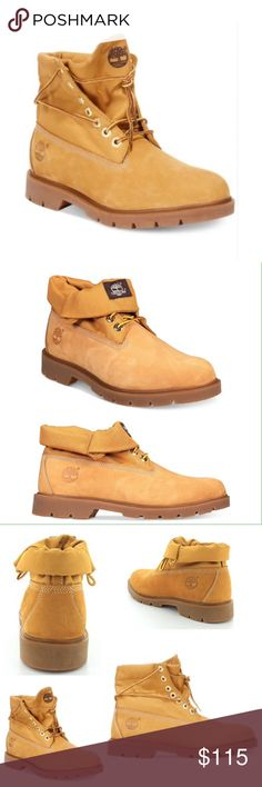 Timberland  Men's Basic Roll Top Boots Rugged work boots with a leather/textile upper. Rubber sole, plain toe, lace up closure with metal eyelets, roll top collar, brand detailing at tongue and side heel.  Color: Wheat Size: 10 NWOT-original box included. Timberland Shoes Boots