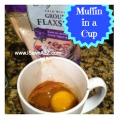 Healthy muffin in a cup! 1 tsp Coconut Oil 2 tsp Cinnamon cup ground flaxseed 1 tsp baking powder 1 egg 1 packet of Stevia (sugar substitute) Mix ingredients well in a microwavable coffee mug and cook for about 50 seconds. Healthy Cooking, Healthy Snacks, Cooking Recipes, Healthy Deserts, Healthier Desserts, Healthy Recipes, Mug Recipes, Muffin Recipes, Free Recipes