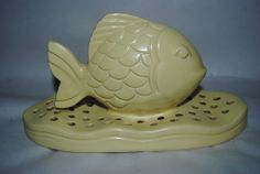 Flower Frog Fish and Waves Pacific Art Pottery 50's matte yellow