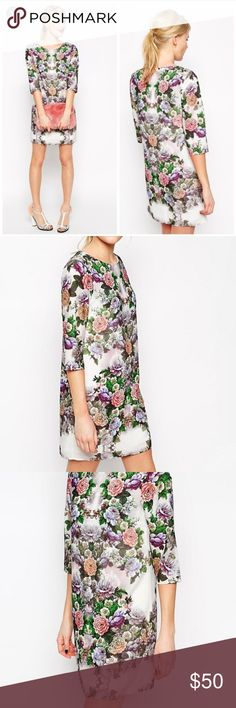 Asos Placement Floral Shift Dress Asos Placement Dress Like new Size 0 Lined Will upload measurements and real life photos tomorrow Smoke free home ASOS Dresses Mini