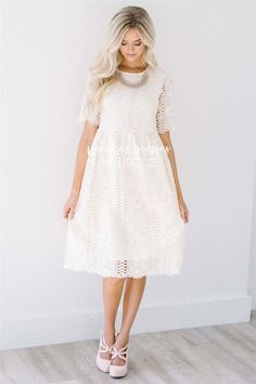 At First Sight Cream Lace Dress It was love at first sight when we saw this beautiful cream lace dress! Don't let this one pass you by! Stunning lace dress features elbow length sleeves, an elastic waist and side zipper closure. Church Dresses, Modest Dresses, Modest Outfits, Modest White Dress, Summer Outfits, Church Clothes, Modest Clothing, Church Outfits, Skirt Outfits