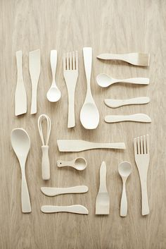 White cutlery and kitchen tools