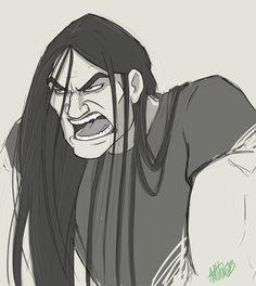 Nathan Sketch by ash-vickers on DeviantArt Sketch 2, Art Sketches, Toki Wartooth, Metal Drawing, Metalocalypse, Stoner Rock, Gothic Metal, Rock Artists, Cartoon Man