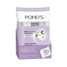 Pond's Evening Soothe Wet Cleansing Towelettes  ct ($4.69) ❤ liked on Polyvore featuring beauty products, skincare, face care and face cleansers