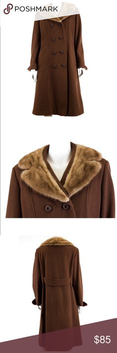 """Vintage Mary Lane Wool Cognac Mink Coat Size M  Vintage late 60's  Cognac color  Mink collar  Double breasted button front  2 Side slit pockets  Long cuffed sleeves Back belt Fully lined   Condition: cuffs may need to be sewn down depending on preferred style/fit. (Second hand item-has been worn by previous owner).  Measurements  Length: 41.5"""" Chest: 40.5"""" Waist: 36"""" Hips: 40""""                               100% Authenticity Guarantee Mary Lane  Jackets & Coats"""