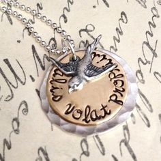 Hand Stamped Necklace - She Flies With Her Own  Wings - Alis volat propriis