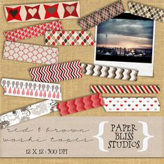 Digital Washi Tape  Multi Pattern  Red & by PaperBlissStudios, $4.00