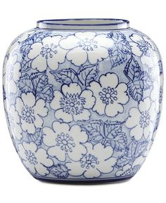 Pretty in blue and white, the Painted Indigo Floral Round Vase by Lenox is a lovely accent piece displayed as is or filled with fresh blossoms. It also makes an ideal housewarming or wedding gift. Blue Pottery, Pottery Vase, Art Nouveau, Round Vase, Porcelain Jewelry, Porcelain Vase, Painted Porcelain, Fine Porcelain, Clay Vase