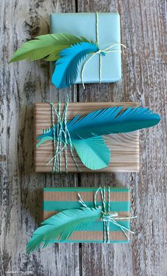 paper feathers for gift tags in green and teal