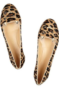 Charlotte Olympia|Capri Cats leopard-print calf hair espadrille flats
