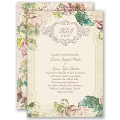 Vintage Blossoms - Invitation. Perfect for your summer garden wedding, this vintage, floral-themed wedding invitation is just right!