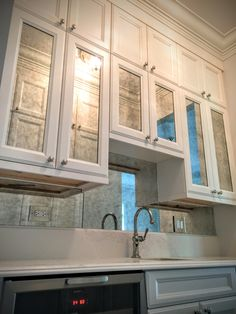 Antique Mirror Backsplash With Antique Mirror Electrical