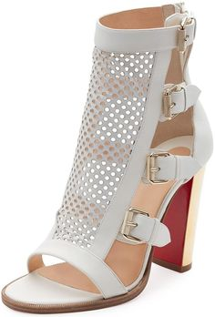 Christian Louboutin 'Fencing' Perforated 100mm Red Sole Sandals