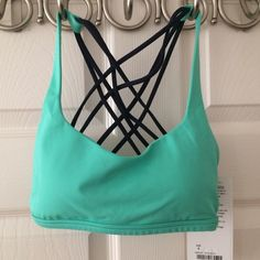 Sale! Lululemon Free to Be wild bra sz 4 New On sale for a short time! New , sold out everywhere. Mint green color with navy straps , size 4 with pads, and  you a get a  Large new Lululemon shopper bag with your purchase. No trades or pp, price is firm, make an offer. lululemon athletica Other