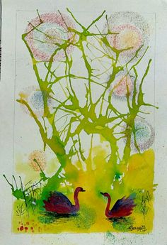 """Blow art foodcolor painting  """"Dance of swans"""""""