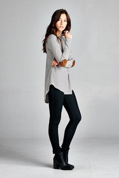 Navy and white striped long sleeve tee with cute faux suede elbow patches. Semi-loose fit, round hi-low hem. Made with heavy weight knit fabric that is soft, drapes well and has great stretch. Made in