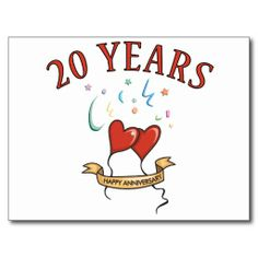 20th Wedding Anniversary Gifts Post Card