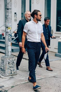 Do- Pair a short sleeve shirt and pinstripes with sneakers.