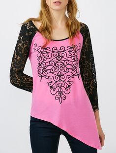 SHARE & Get it FREE | Lace Panel Raglan Sleeve Asymmetrical T-ShirtFor Fashion Lovers only:80,000+ Items • New Arrivals Daily • Affordable Casual to Chic for Every Occasion Join Sammydress: Get YOUR $50 NOW!
