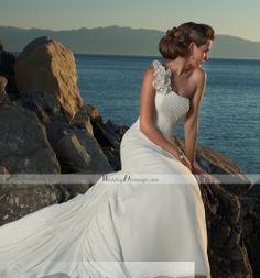 Brilliant Sheath/Column One-shoulder Sleeveless Floor-Length Wedding Dresses