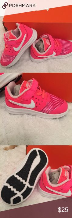Infant girls Nike Downshifter These are New in the box. Color is racer pink-bright vibrant color. Nike Shoes Baby & Walker
