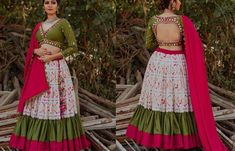 white ikat ruffled hem ghaghra with olive blouse and hot pink dupatta for navratri Choli Blouse Design, Choli Designs, Saree Blouse Designs, White Blouse Designs, Dress Neck Designs, Chaniya Choli Designer, Chanya Choli, Navratri Dress, Long Gown Dress
