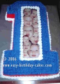 Picture Collage first birthday cake!! The collage is handmade and laminated!! Great idea!!