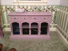 Repurposed China Hutch converted in to a Bunny Hutch!  Super easy, practical and beautiful!!