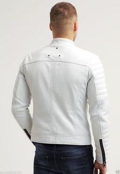 New Men's Real Soft Lambskin Leather Jacket White Slim Motorcycle Biker Jacket Lambskin Leather Jacket, Leather Men, Leather Jackets, Workwear Fashion, Mens Fashion, Smart Casual Outfit, Men In Kilts, Cool Jackets, Fashion Branding