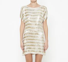 Tibi Cream, Silver And Gold Dress