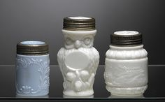 Three Rare Figural & Milk Glass Canning Jars - I love milk glass! and I want this owl one. Now all I need is $480. Ha!