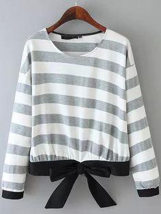 Grey Long Sleeve Striped Bow Zipper Sweatshirt
