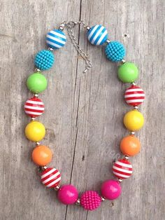 Rainbow Bubblegum Chunky Bead Necklace