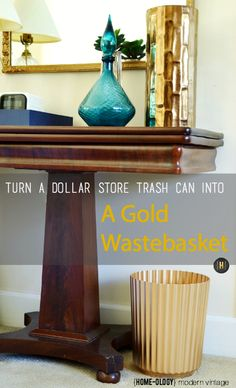 Glam up a dollar store trash can with gold metallic paint | {Home-ology} modern vintage