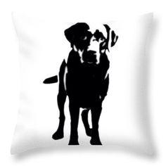 Decorative Throw Pillows, Designer throw pillows,pillow case, pillow covers, Labrador Retriever, black, white, Lab, dog, White cushion cover by HeatherJoyceMorrill on Etsy