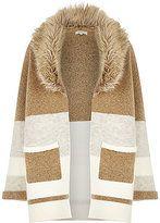 River Island Cardigan en laine mélangée à grosses rayures marron clair