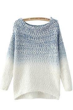 Blue Round Neck Long Sleeves Loose Sweater