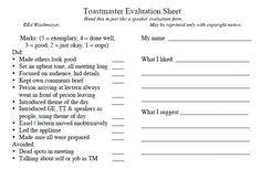 individual speech evaluation form set of 25 toastmasters pinterest