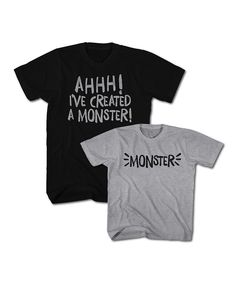 Look at this Black & Heather Gray 'Monster' Tee Set - Toddler & Men's Regular on #zulily today!